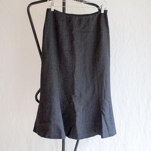 Ralph Lauren Gray Wool Pencil Flare Skirt Size 4